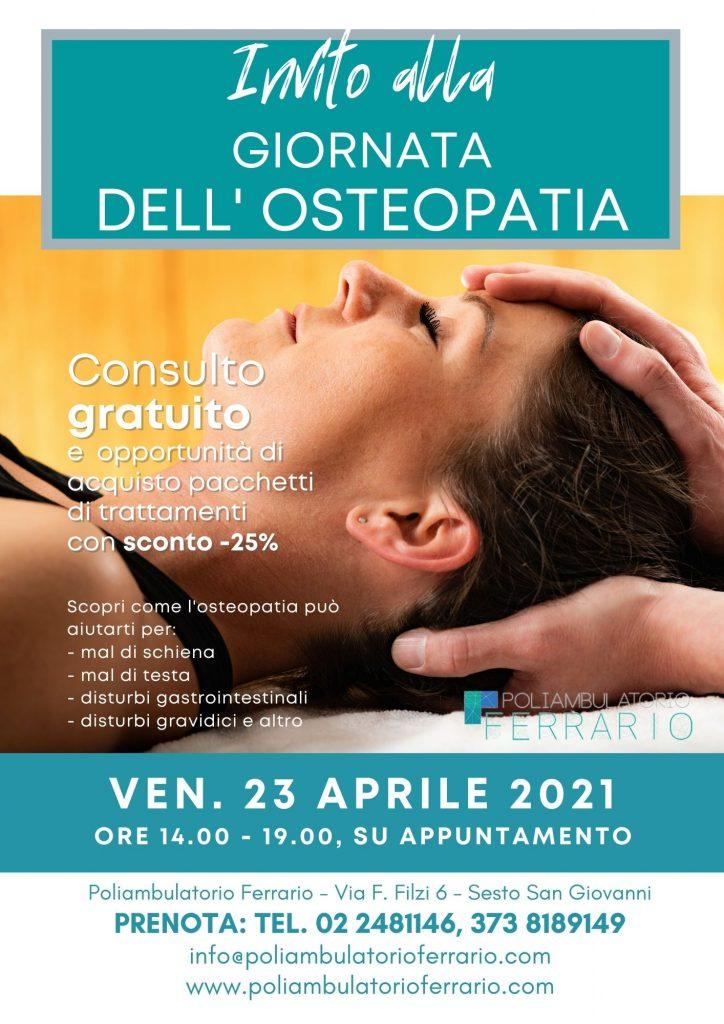 Giornata dell'osteopatia 23 aprile 2021 consulto osteopatico gratuito al Poliambulatorio Ferrario di Sesto San Giovanni, con opportunità di acquisto pacchetti di trattamenti osteopatici o ginnastica posturale scontati