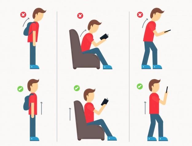 Postura scorretta e postura corretta. Esercizi di ginnastica posturale per migliorare la postura.